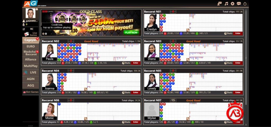 Asia gaming menu